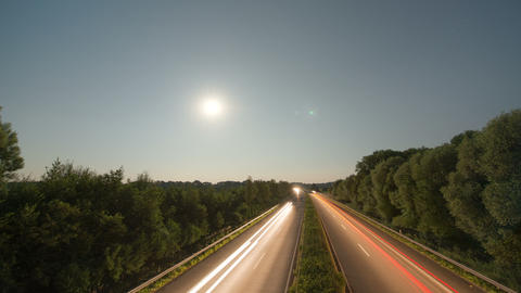 4k UHD Time lapse highway moon rise 11007 Footage