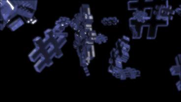 transparent glass 3D computer # symbol Animation