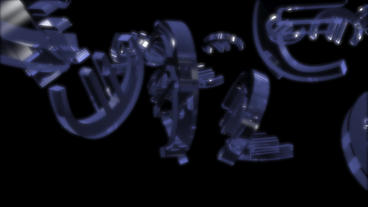 transparent glass Euro symbol Animation