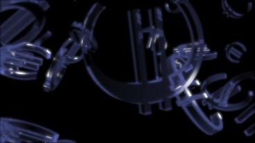 transparent glass Euro symbol Stock Video Footage