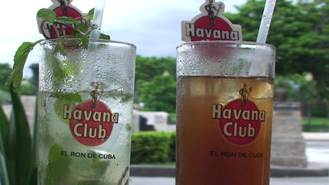 Mojito and Cubalibre glass Stock Video Footage