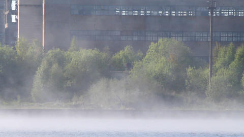 Factory In A Fog stock footage
