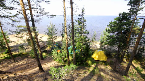 camping on the seashore Stock Video Footage