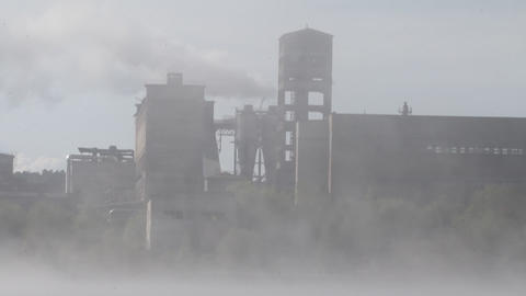 factory in a fog Stock Video Footage
