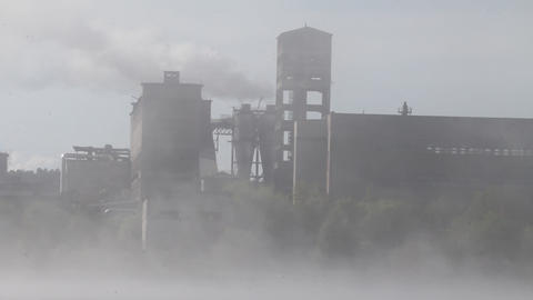 factory in a fog Footage