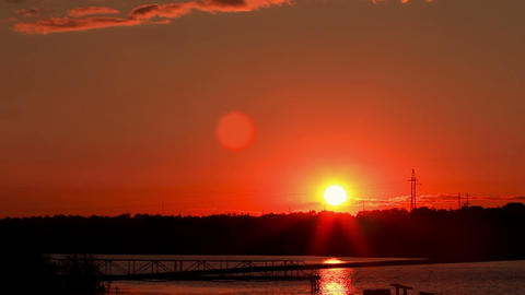 Sunset over the river timelapse Stock Video Footage