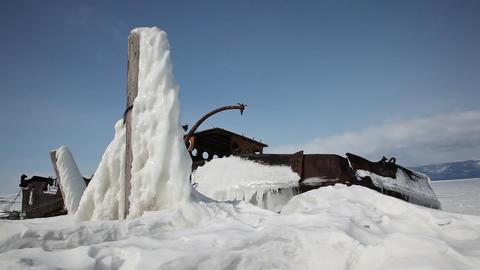 Frozen ship on Baikal lake Stock Video Footage