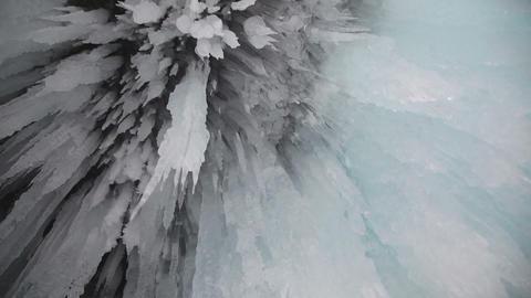Ice grotto on Baikal lake Stock Video Footage