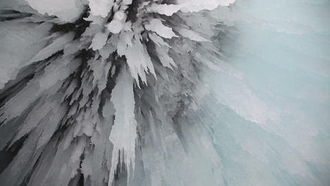 Ice grotto on Baikal lake Footage