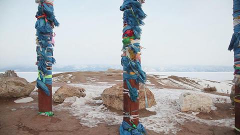 Shaman pillar on Baikal coastline Footage