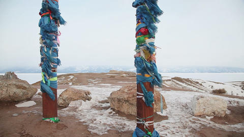 Shaman pillar on Baikal coastline Stock Video Footage