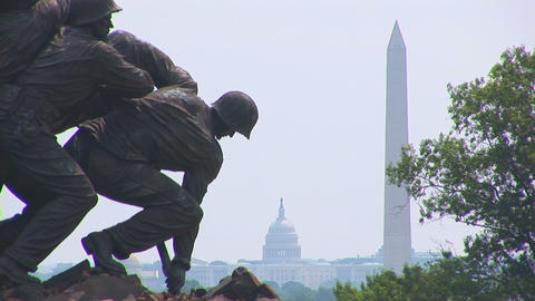 The Marine Corps War Memorial (also called the Iwo Stock Video Footage