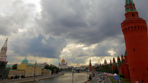 cloudy Moscow kremlin embankment time lapse Footage