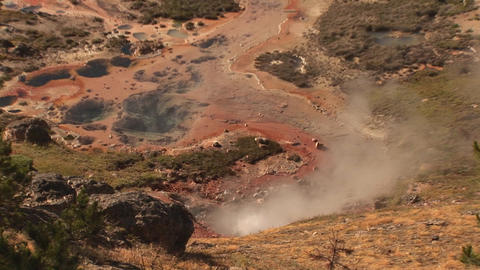Geyser in Yellowstone National Park Footage
