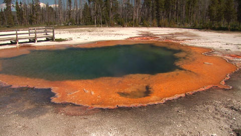 Emerald Pool, Black Sand Basin in Yellowstone National Park Stock Video Footage