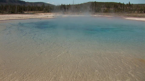 Rainbow Pool, Black Sand Basin in Yellowstone National Park Stock Video Footage