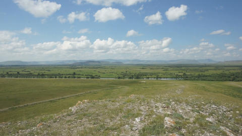 Khakassia. Steppe landscape panorama Stock Video Footage