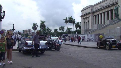 Havana Capitolio Nacional oldtimers Stock Video Footage