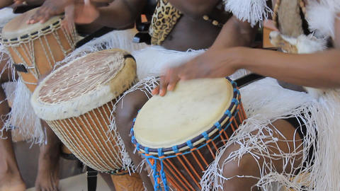 Playing on ethnic drums 2 Stock Video Footage