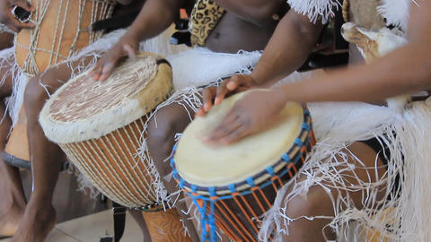 Playing on ethnic drums 2 Footage