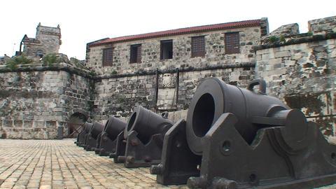 Havana Castillo de la Real Fuerza Cannons Footage