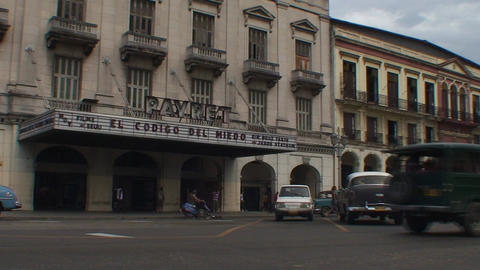 Havana Cinema Payret oldtimers Stock Video Footage