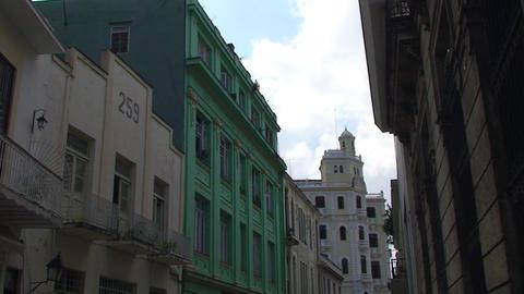 Havana Colonial buildings streetview Stock Video Footage