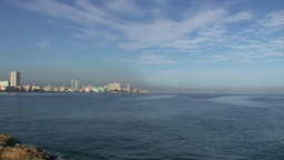 Malecón boulevard panshot from sea Stock Video Footage