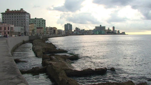 Malecón boulevard seaside Stock Video Footage