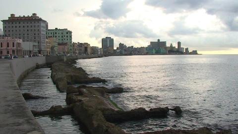 Malecón boulevard seaside Stock Video Footage