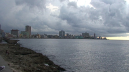 Malecón boulevard with cloudy sky Stock Video Footage