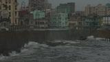 Malecón boulevard with rain and cloudy sky Footage