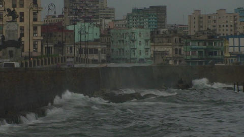 Malecón boulevard with rain and cloudy sky Stock Video Footage