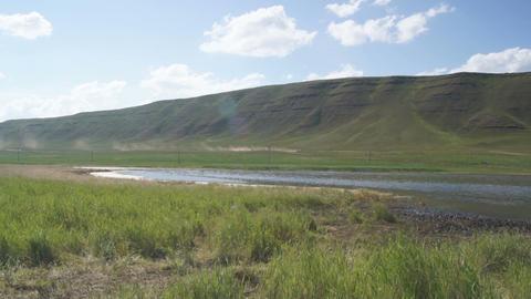Khakassia. On the shore of Tus Lake (backlight) Stock Video Footage