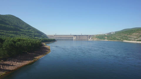 Krasnoyarsk Dam on the River Yenisei 02 Stock Video Footage