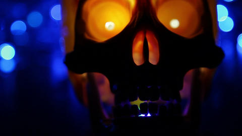 skull and defocused lights abstract background Footage