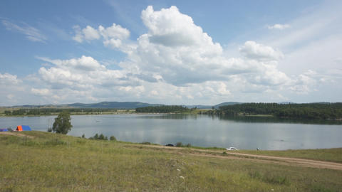 Khakassia Dog Lake Landscape 01 Stock Video Footage