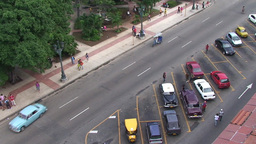 Overview from the roof oldtimer cars on parkingpla Stock Video Footage