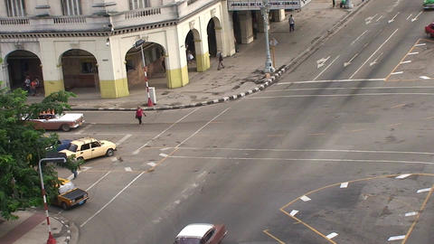 Overview from the roof, cars on the street Stock Video Footage