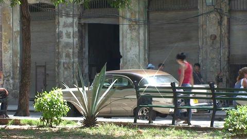 Plaza del Cristo, oldtimer, woman Stock Video Footage