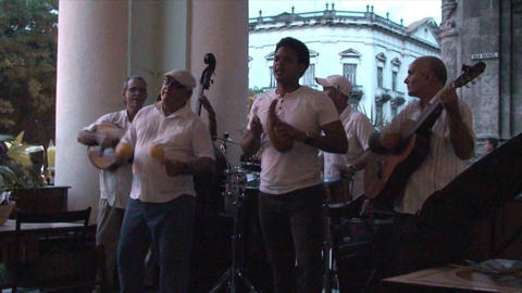 Salsa musicians 3 on terrrace part 2 of 11 Stock Video Footage