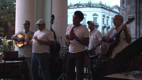 Salsa musicians 3 on terrrace part 2 of 11 Footage