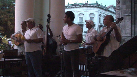 Salsa musicians 3 on terrrace part 4 of 11 Stock Video Footage