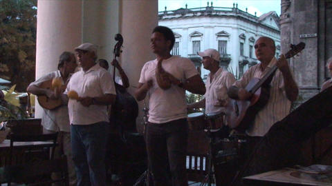 Salsa musicians 3 on terrrace part 6 of 11 Stock Video Footage