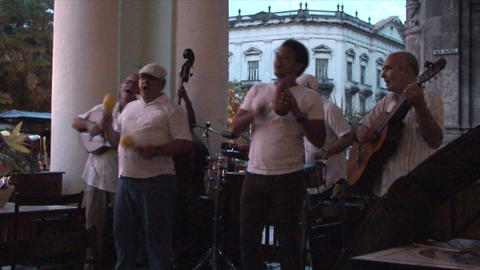Salsa musicians 3 on terrrace part 8 of 11 Stock Video Footage
