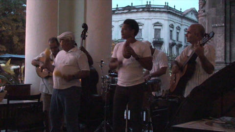 Salsa musicians 3 on terrrace part 10 of 11 Stock Video Footage
