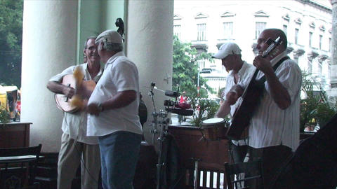 Salsa musicians on terrrace part 1 of 9 Stock Video Footage