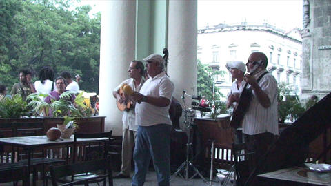 Salsa musicians on terrrace part 3 of 9 Stock Video Footage