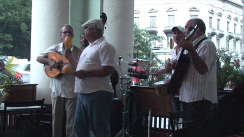 Salsa musicians on terrrace part 5 of 9 Footage