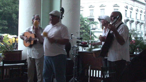 Salsa musicians on terrrace part 5 of 9 Stock Video Footage